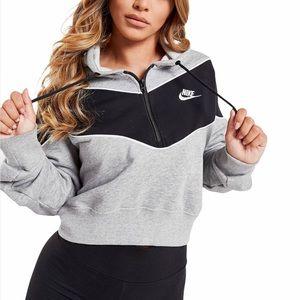 NEW Nike Grey Heritage 1/2-Zip Crop Fleece Hoodie